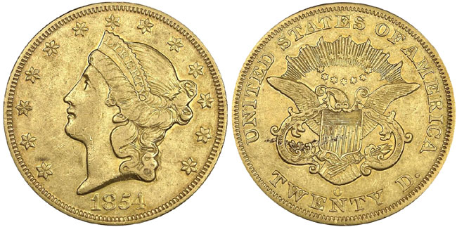 1854-O Liberty Double Eagle