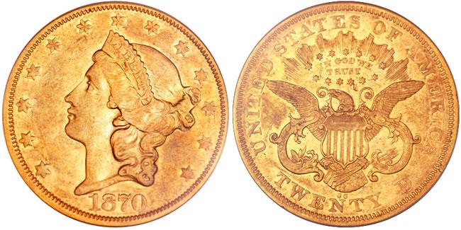 1870-CC Liberty Double Eagle