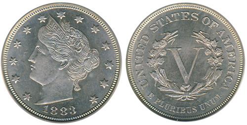 1883 Liberty Nickel No Cents