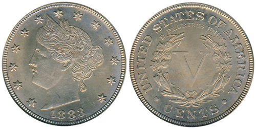 1883 Liberty Nickel with Cents