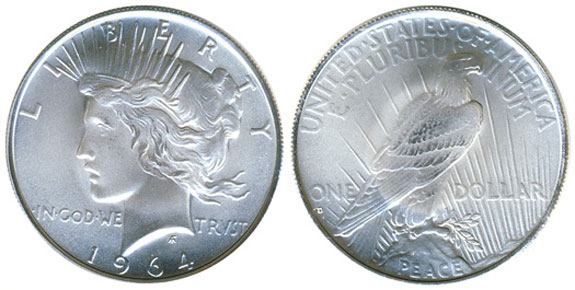 1964 Peace Silver Dollar