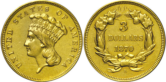 1870-S Three Dollar Gold Piece