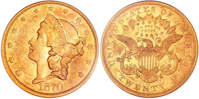 1870-CC Liberty Double Eagle