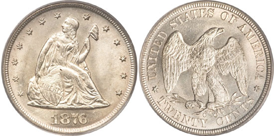1876-CC Twenty Cent Piece