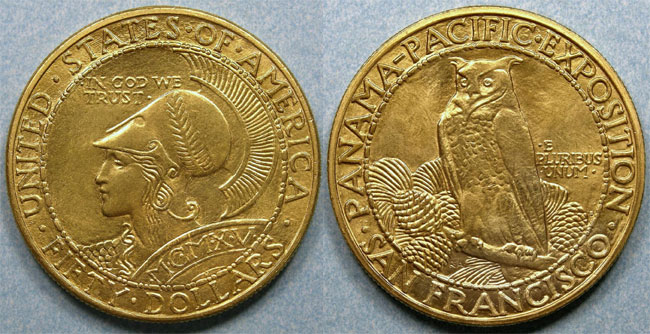 1915-S Round Panama Pacific $50 Gold Piece